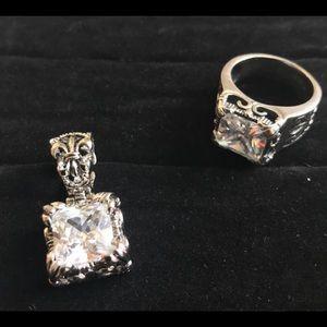 Silpada Silver & Cubic Zirconia Pendant & Ring